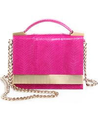 B Brian Atwood - Ava Snakeembossed Leather Convertible Clutch - Lyst