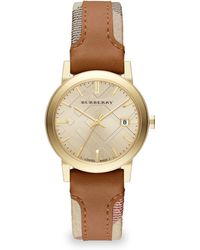 Burberry City Goldtone Stainless Steel & Haymarket Leather Strap Watch - Lyst