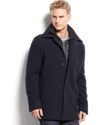 Calvin Klein Double Layer Pattern Wool Coat - Lyst