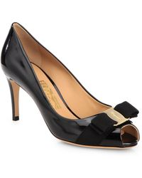 Ferragamo Pola Patent Leather Peep-Toe Pump - Lyst