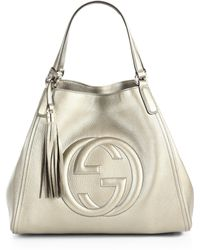 Gucci Soho Metallic Leather Shoulder Bag white - Lyst