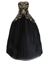 Marchesa Gold Embroidered Tulle Gown black - Lyst