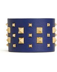 Valentino 'Rockstud' Wide Leather Bracelet - Lyst
