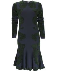 Zac Posen Long Sleeve Knit Chenille Flare Dress - Lyst