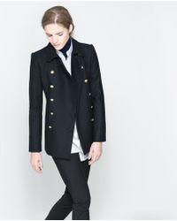 Zara Short Coat with Metallic Button - Lyst