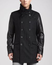 Diesel Rondel Mixed Fabric Coat Black - Lyst