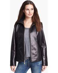 Ellen Tracy Leather Scuba Jacket - Lyst