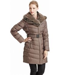 Kenneth Cole - Belted Down Coat With Faux Fur Trim - Lyst