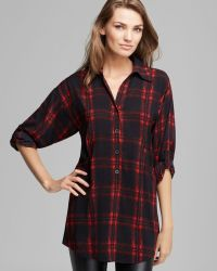 Plenty by Tracy Reese - Tunic Blouse Plaid Henley - Lyst