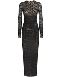 Alessandra Rich Ruched Leopard Lace Gown - Lyst