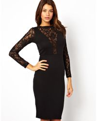 Asos Sequin and Lace Midi Bodyconscious Dress - Lyst