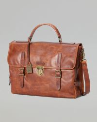 Frye - Logan Buckle Leather Briefcase - Lyst