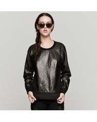 Helmut Lang Leather Sweatshirt - Lyst