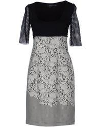 Pianurastudio Short Sleeve Round Collar Gray Short Dress - Lyst
