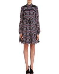 Proenza Schouler Geometric Print Georgette Shirt Dress - Lyst