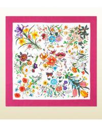 Gucci Flora Silk Printed Foulard - Lyst