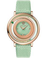 Versace Ladies Venus Watch With Calfskin Strap green - Lyst