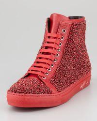 Donald J Pliner Lajos Crystallized Hightop Sneaker - Lyst