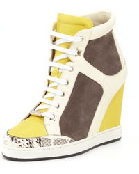 Jimmy Choo Panama Suedepatent Wedge Sneaker Pebbleyellow - Lyst