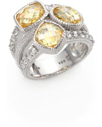 Judith Ripka | Isabella Canary Crystal, White Sapphire & Sterling Silver Mixed Triple-Stone Ring | Lyst