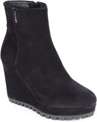 Prada Suede Wedge Ankle Boots - Lyst