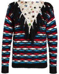 Rodarte - Alpaca Jumper with Embellished Crocheted Scarf - Lyst
