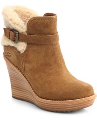 Ugg Anais Shearlingtrimmed Suede Ankle Boots - Lyst
