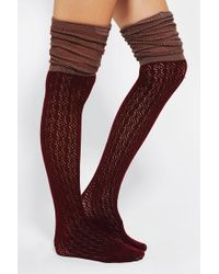 Urban Outfitters - Pointelle Scrunch Over the Knee Socks - Lyst