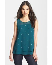 Bobeau Sheer Beaded Top - Lyst