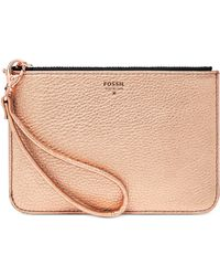 Fossil Metallic Leather Small Zip Pouch - Lyst
