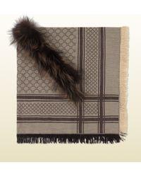 Gucci Gg Pattern Shawl With Fur Trim - Lyst
