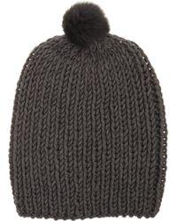 Hat Attack Fur Pom Beanie - Lyst