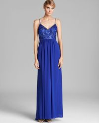 Sue Wong V Neck Beaded Top Grecian Gown - Lyst