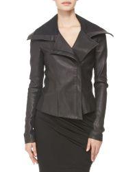 Donna Karan New York Jerseypanel Stretch Leather Jacket - Lyst