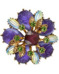Betsey Johnson Antique Gold-Tone Carved Flower Bead Pin - Lyst