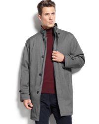 Calvin Klein Grey Herringbone Raincoat - Lyst