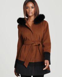 Ellen Tracy - Belted Colour Block Wool Coat - Lyst