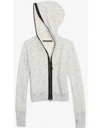 Enza Costa - Exclusive Leather Trim Hoodie - Lyst