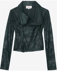 Georgie - Exclusive Leatherlike Moto Jacket Green - Lyst