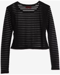 Otis & Maclain - Sheer Stripe Crop Tee Black - Lyst