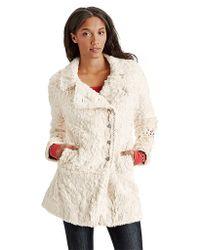 Free People Faux Fur Asymmetrical Swing Coat - Lyst