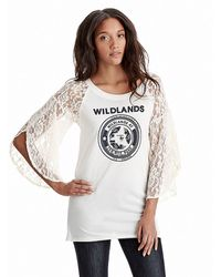 Free People Lace Sleeve Rock Me Graphic Tee - Lyst