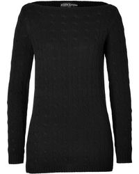 Ralph Lauren Black Label Cashmere Cable Knit Boatneck Tunic In Black - Lyst