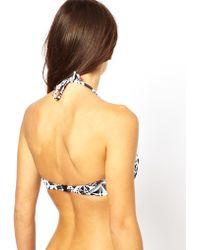 Vans - Asos Rossetti Print Padded Longline Bikini Top - Lyst