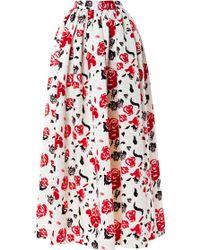 MSGM Satin Rose Print Midi Skirt white - Lyst