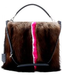 Fendi Signature Anna 1322 Leather Tote With Mink Fur - Lyst
