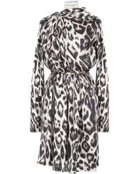 Lanvin Animal Printed Silk Dress - Lyst