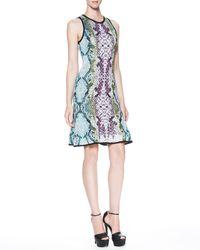 Roberto Cavalli Womens Snakeprint Keyholeback Dress - Lyst