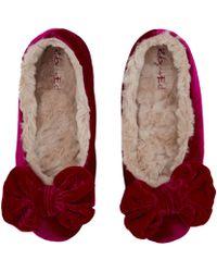 Ruby And Ed - Pink Velvet Bow Ballerina Slippers - Lyst