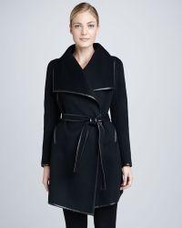 Dawn Levy Harper Belted Leathertrim Wool Coat - Lyst